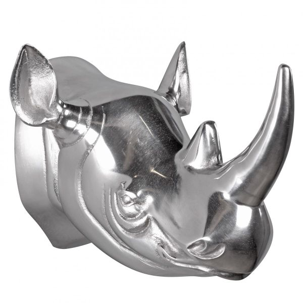 Deko Geweih Nashorn aus Aluminium Wanddekoration Farbe Silber