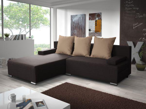 Ecksofa Sofa LUCY mit Schlaffunktion Braun / Cappuccino Ottomane Links