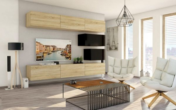 Mediawand Wohnwand 8 tlg - Konzept 38 - Sonoma matt/ Schwarz Hochglanz