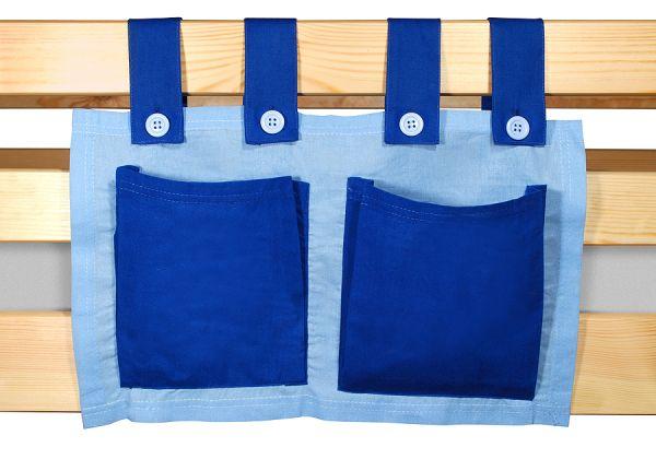 Stoftasche Seitentasche - HELLBLAU / BLAU - für Hochbet Spielbett Etagenbett