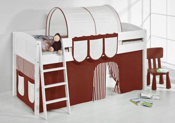 Spielbett Bett -LANDI - Braun Beige - Teilbar-Kiefer Weiss-mit Vorhang