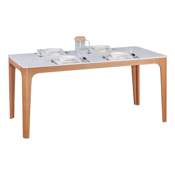 Esstisch Tisch - MAGNUS - Vierfußtisch 160x76 cm MDF Weiß lackiert