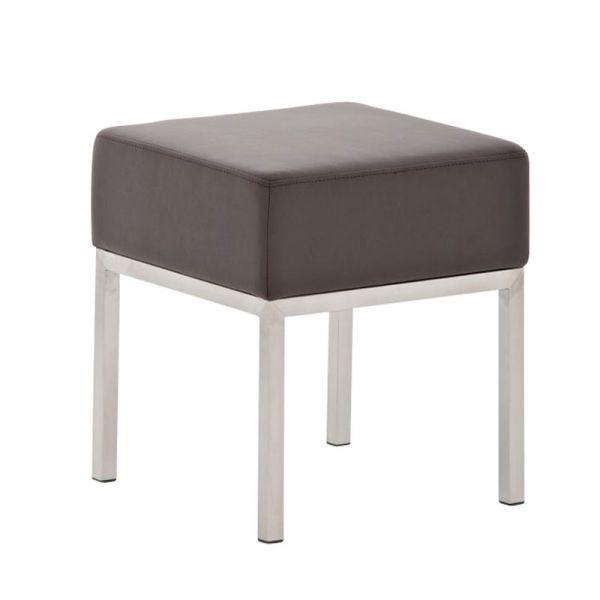 Sitzhocker - LONI 2 - Hocker Sessel Kunstleder Braun 40x40 cm