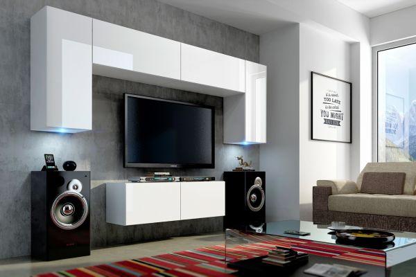 Mediawand Wohnwand 6 tlg - Konzept 2 - Weiss HGL mit LED-Beleuchtung