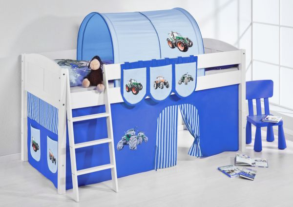 Spielbett Bett -LANDI - Trecker Blau -Teilbar-Kiefer Weiss-mit Vorhang