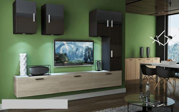 Mediawand Wohnwand 8 tlg - Bedox 4 - Sonoma matt- Schwarz HGL Nr.2+LED