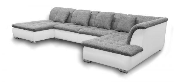 Couchgarnitur NICOLE ohne Schlaffunktion Ottomane Links Grau/Weiß