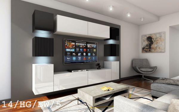 Mediawand Wohnwand 10 tlg - Konzept 40 Nr.2 - Weiß / Schwarz Hochglanz