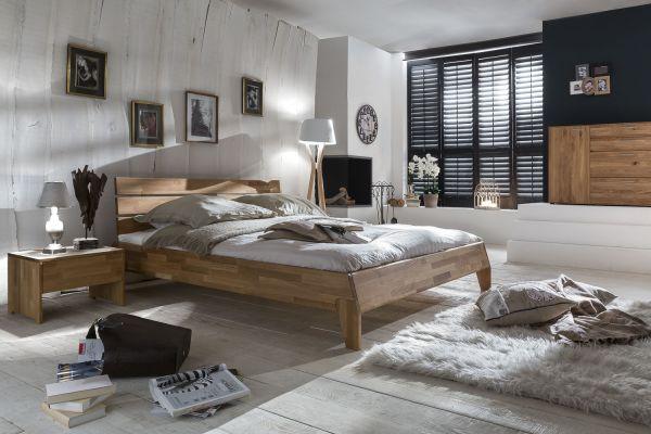 Massivholzbett Schlafzimmerbett - Reni - Bett Wildeiche 200x200 cm