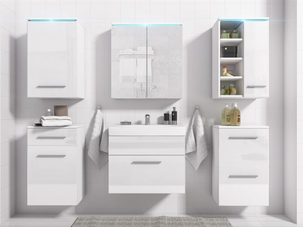 Badmöbel Set 7-Tlg Weiss Hochglanz MAXI inkl.Waschtisch inkl.LED