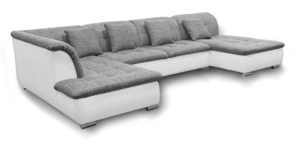 Couchgarnitur NICOLE ohne Schlaffunktion Ottomane Rechts Grau/Weiß