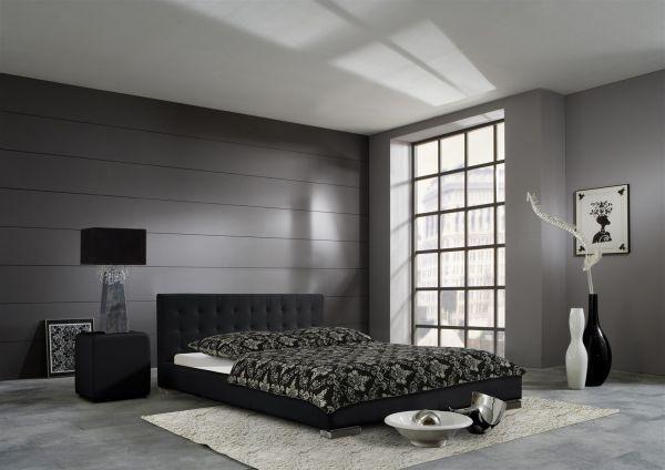 Polsterbett Bett Doppelbett Tagesbett - BONI - 140x200 cm Schwarz