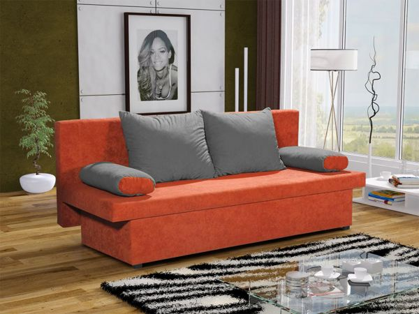 Sofa Schlafsofa inklusive Bettkasten DANNY Orange / Grau