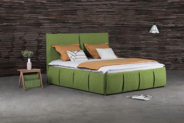 Polsterbett Doppelbett AGIS Stoff Grün 180x200cm