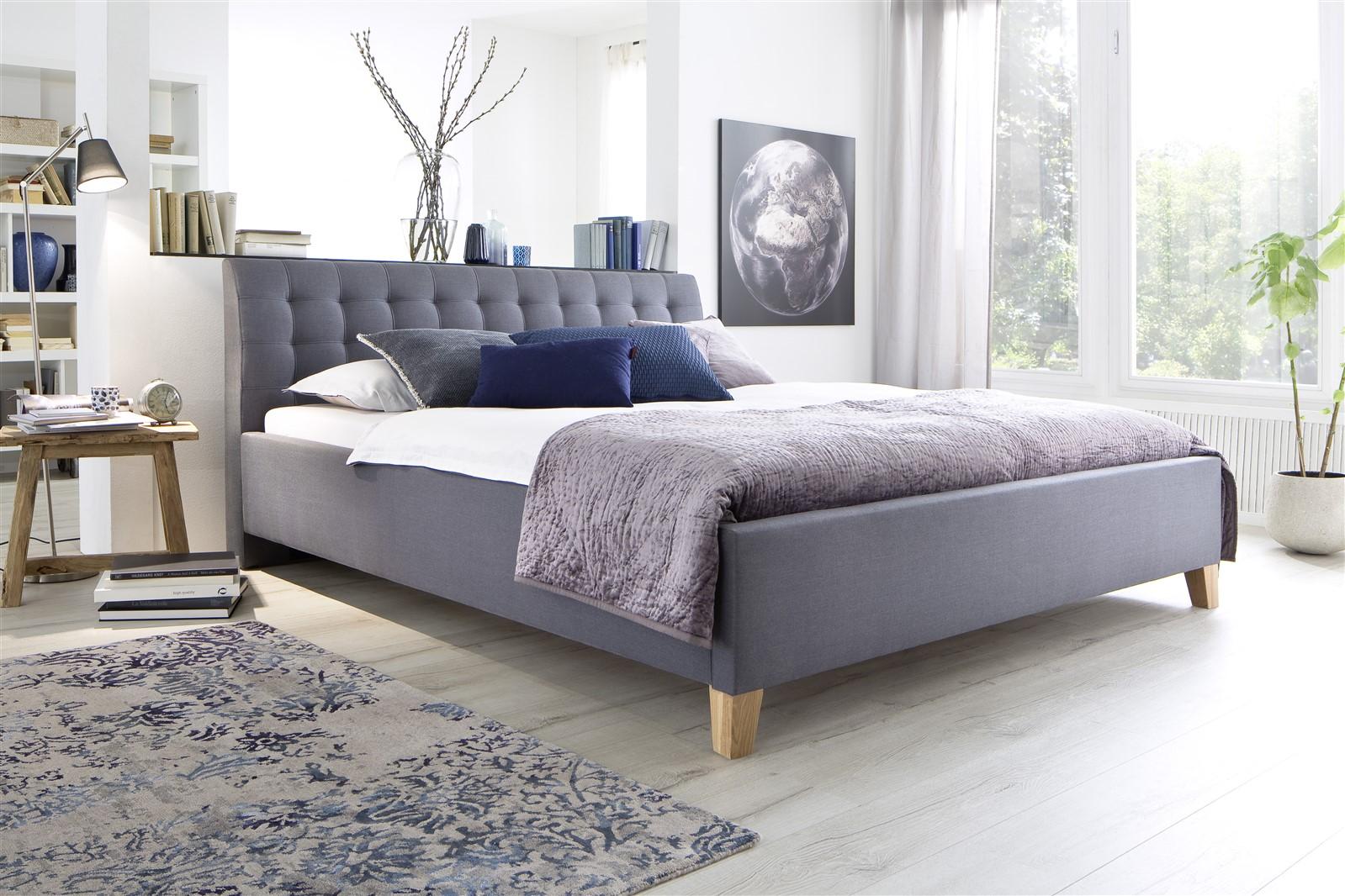 polsterbett bett doppelbett dennis 180x200 cm stoffbezug grau fun m bel. Black Bedroom Furniture Sets. Home Design Ideas