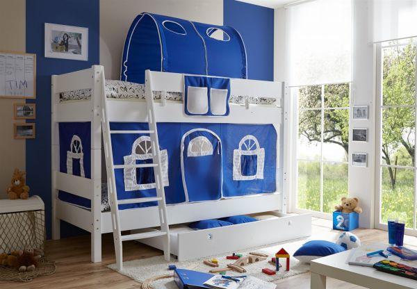 Etagenbett Buche Massiv Weiss : Etagenbett hochbett colin buche massiv weiss inkl.vorhang blau
