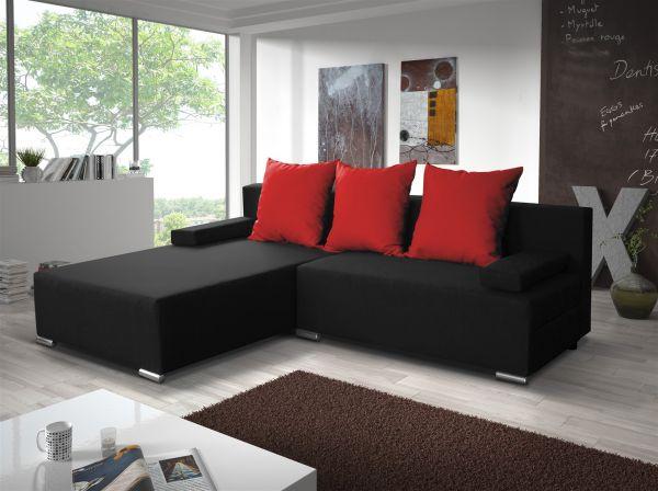 Ecksofa Sofa LUCY mit Schlaffunktion Schwarz / Rot Ottomane Links