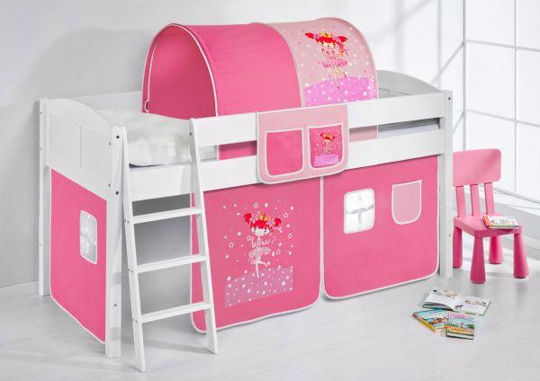 Spielbett Bett - LANDI - Zauberfee -Teilbar -Kiefer Weiss -mit Vorhang