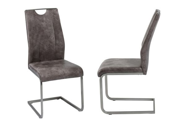 Esszimmerstühle Stühle Freischwinger 4er Set - MONACO - Mittelbraun