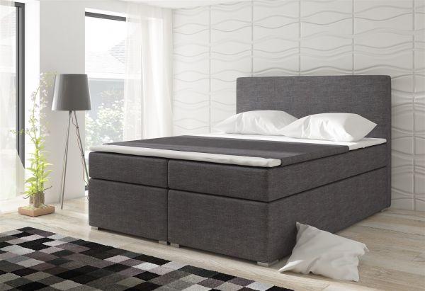 Boxspringbett Schlafzimmerbett CLAUDIA Webstoff Grau 160x200cm