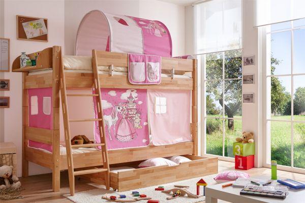 Etagenbett Pink : Etagenbett sammy weiß mit bücherregal vorhang und er tunnel