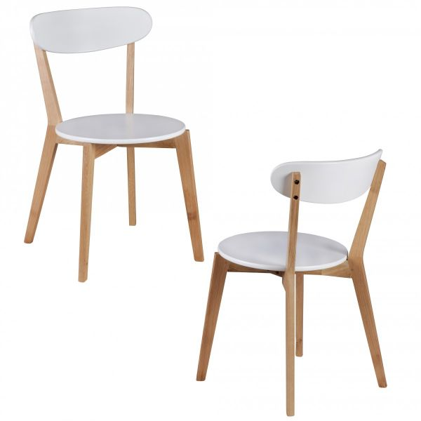 Esszimmerstühle Stühle Vierfußstuhl 2er-Set TORGE Weiss /Rubberwood