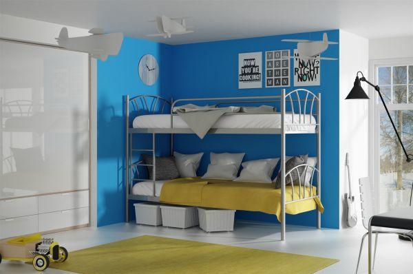 Metallbett Etagenbett : Metallbett lady silber hochbett in zwei einzelbetten teilbar fun
