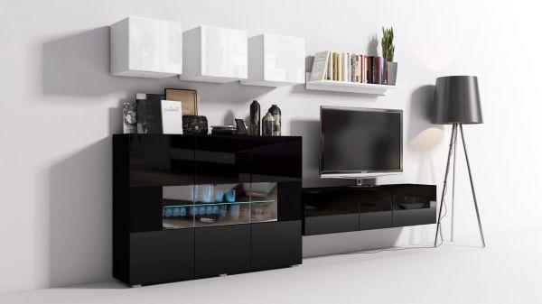 Mediawand Wohnwand 8 tlg - Konzept 7 - Schwarz / Weiss HGL + LED