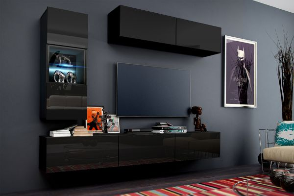 Mediawand Wohnwand 6 tlg - Konzept 12 - Schwarz HGL mit LED-Beleuchung