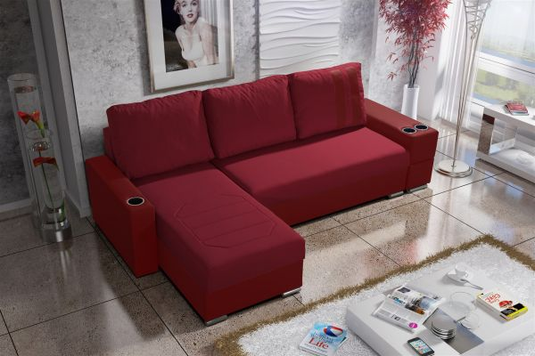ecksofa sofa knox xs mit schlaffunktion rot ottomane links fun m bel. Black Bedroom Furniture Sets. Home Design Ideas
