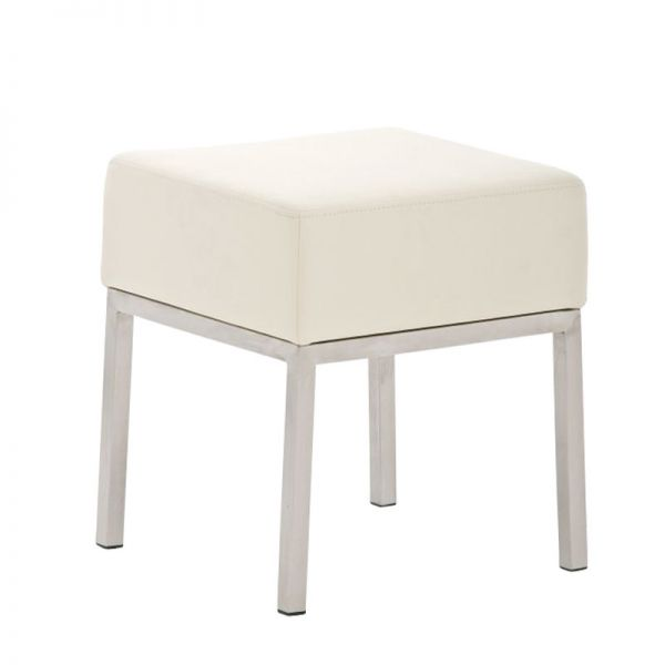 Sitzhocker - LONI 2 - Hocker Sessel Kunstleder Creme 40x40 cm