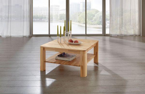 Couchtisch Tisch FRED Buche vollmassiv / Echtholz 100 x 100 cm