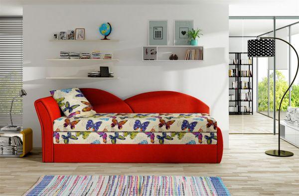 Sofa Schlafsofa inklusive Bettkasten ALINA / L - Rot / Muster