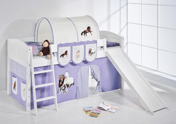 Spielbett mit Rutsche -LANDI/R -Pferde Lila -Kiefer Weiss -mit Vorhang