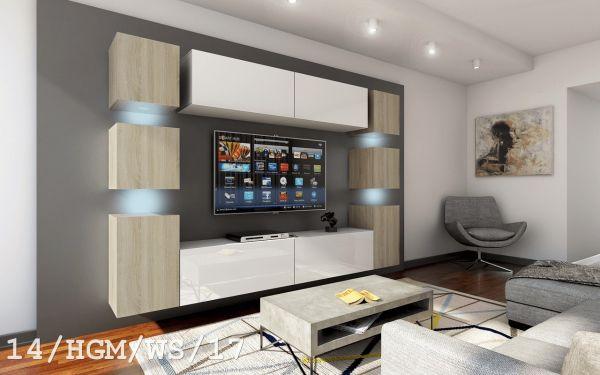 Mediawand Wohnwand 10 tlg - Konzept 40 Nr.3 - Weiss HGL / Sonoma matt