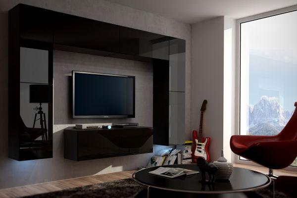 Mediawand Wohnwand 8 tlg - Konzept 3 - Schwarz HGL mit LED-Beleuchtung