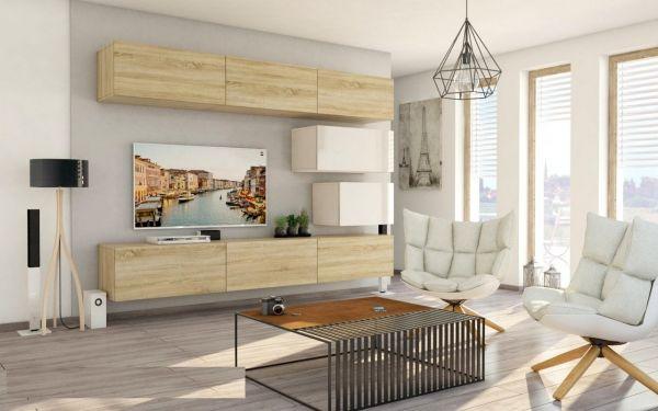 Mediawand Wohnwand 8 tlg - Konzept 38 - Sonoma matt/ Weiss Hochglanz