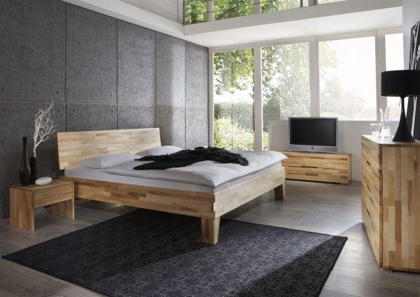 Massivholzbett Schlafzimmerbett -Sierra XL -Bett Kernbuche 120x220 cm