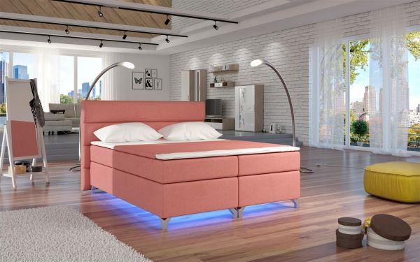 Boxspringbett Schlafzimmerbett NEAPEL Stoff Apricot 180x200cm