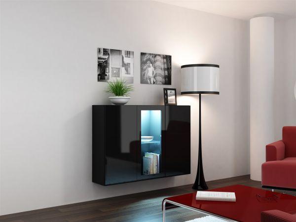 "Sideboard Hängesideboard ""LUGO"" 120x38x90 cm Schwarz HGL mit LED"