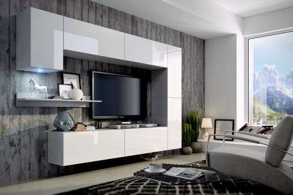 Mediawand Wohnwand 8 tlg - Konzept 6 - Weiss HGL mit LED-Beleuchtung
