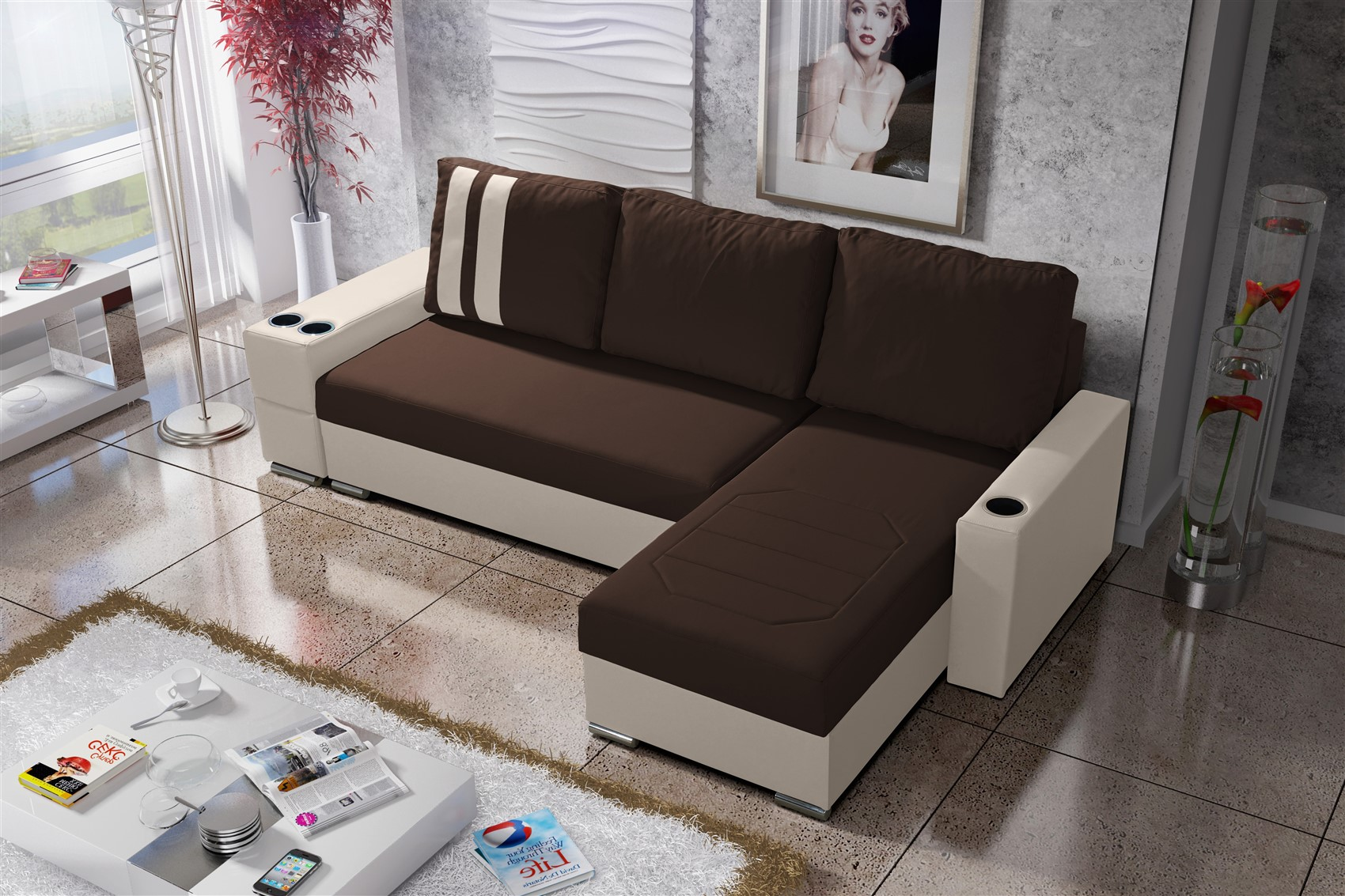 ecksofa sofa knox xs mit schlaffunktion creme dunkelbraun. Black Bedroom Furniture Sets. Home Design Ideas