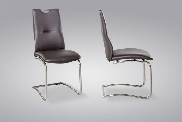 Esszimmerstühle Stühle Freischwinger 4er Set MAURI Kunstleder Braun