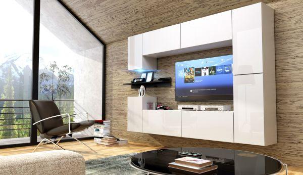 Mediawand Wohnwand 9 tlg - Konzept 13 -Weiss HGL mit LED-Beleuchtung