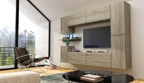 Mediawand Wohnwand 9 tlg - Konzept 13- Sonoma matt mit LED-Beleuchtung