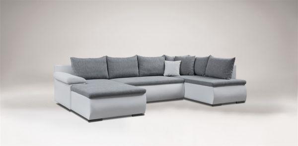 Couchgarnitur Camilla U-Form Kuntleder Weiss / Stoff Grau