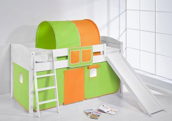 Spielbett mit Rutsche -LANDI/R -Grün Orange -Kiefer Weiss -mit Vorhang
