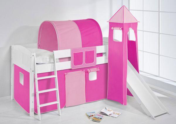 Spielbett mit Rutsche,Turm, Vorhang -LANDI/S -Pink Rosa - Kiefer Weiss