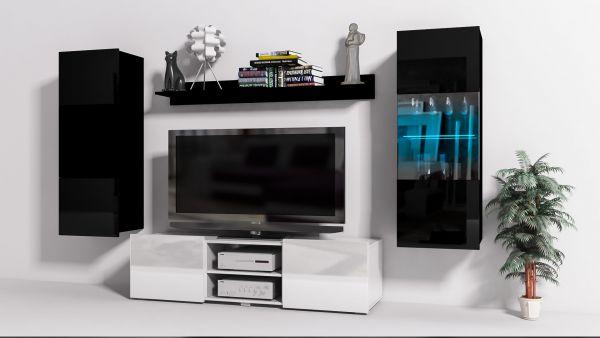 Charmant Mediawand Wohnwand 4 Tlg   Konzept 32   Weiss/ Schwarz Hochglanz +LED