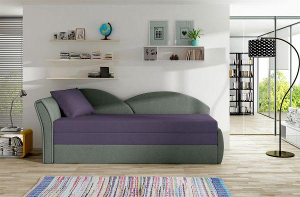 Sofa Schlafsofa inklusive Bettkasten ALINA / L- Grau / Violett